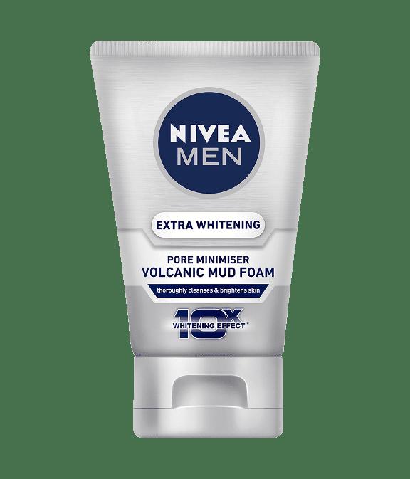 pencuci muka lelaki Nivea men extra whitening pore minimiser volcanic mud foam