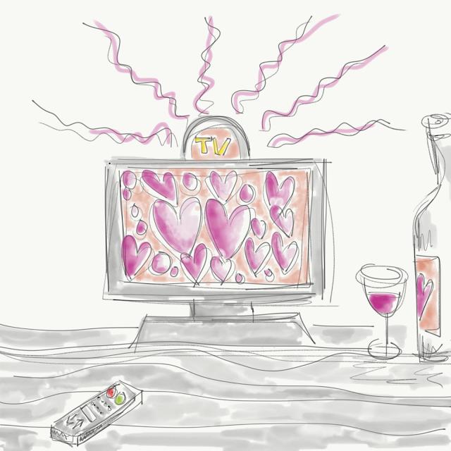 Skizze eines TV-Geräts mit rosa Herzen auf dem Bildschrim. Dazu ein Glas Wein. Skizze von Meike Kröger