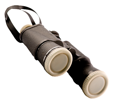 And older pair of binoculars with black leather covering, lens caps, and a neck strap.