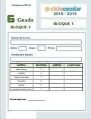 Examen del Bloque I Sexto grado 2018-2019