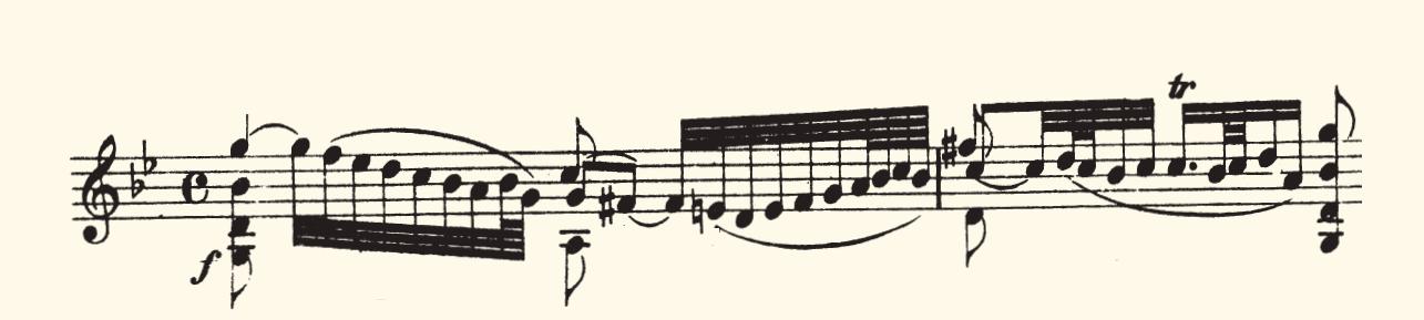 Figura 6. Partitura de la primera frase del Adagio de la Sonata I para violín solo de J. S. Bach.