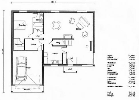 Plan de maison : agathe 138 | CaDwg Maroc