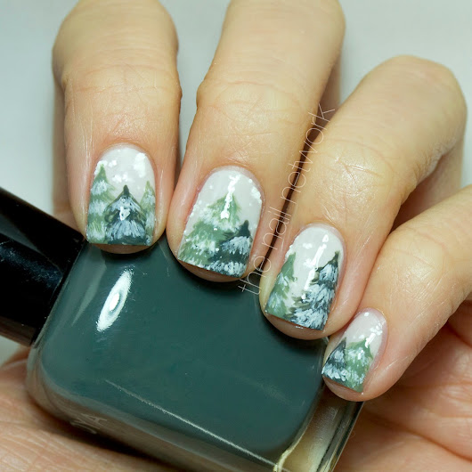 The Nail Network: TDOCNAS 2014: Day 5: Snowy Forest Nail Art