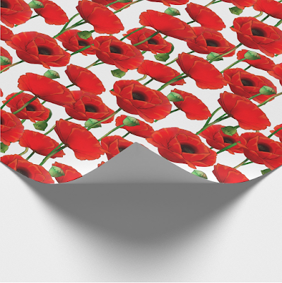 Red Poppy Pattern Wrapping Paper Zazzle