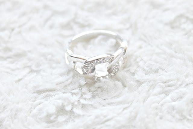 zilveren ring gourmet schakel witte zirkonia stenen lucardi