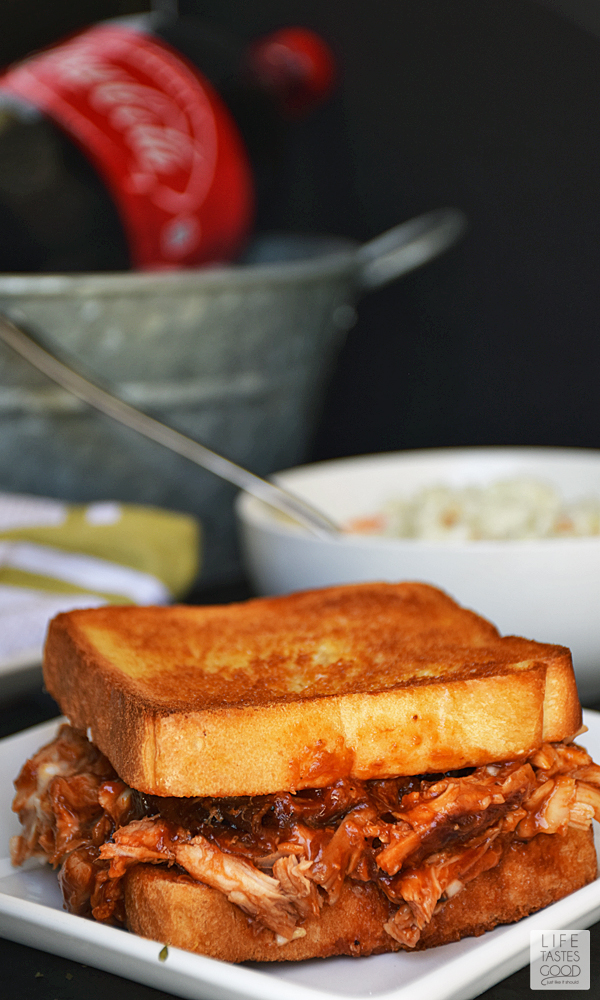 Barbecued Chicken on Garlic Toast | by Life Tastes good | Crisp buttered garlic toast topped with tangy barbecued pulled chicken is a big sandwich so thick you have to open your mouth extra wide to get that first scrumptious bite! #LTGRecipes #EffortlessMeals