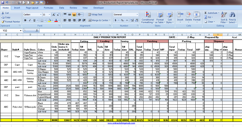 Daily Production Report Excel Template Free Download