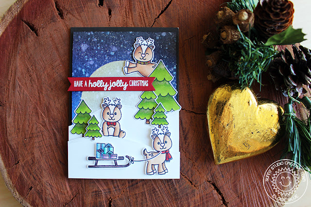 Sunny Studio Stamps: Gleeful Reindeer Moonlight Scene Holiday Christmas Card by Eloise Blue.