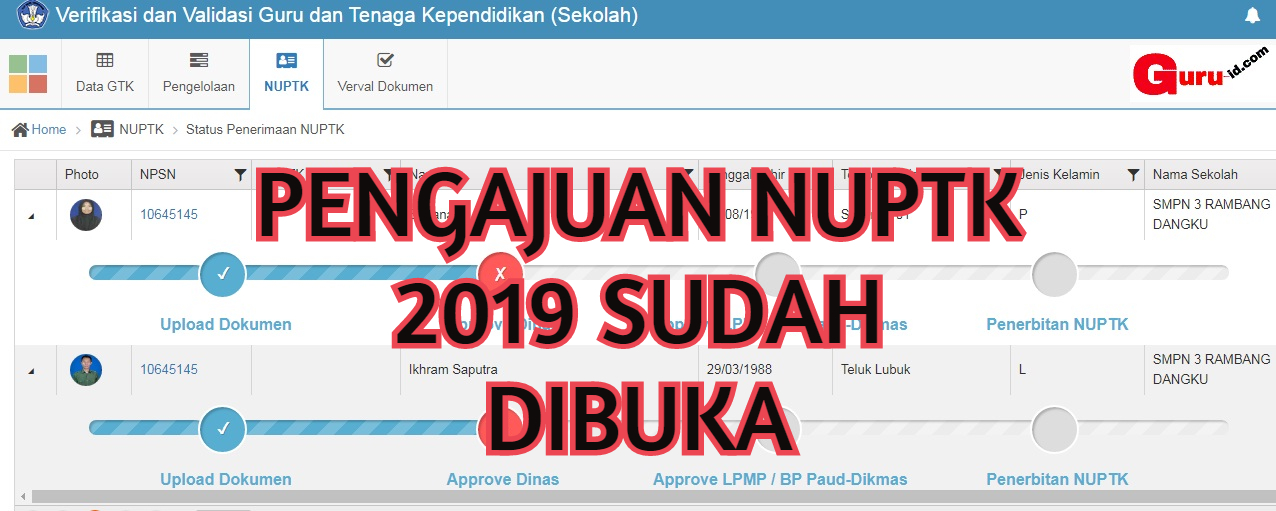 gambar pengajuan NUPTK 2019 di web verval PTK