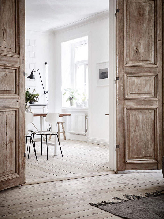 scandinavian apartment, home decor, interior design, large doors