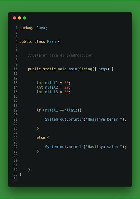 Contoh Operator Relasi Java