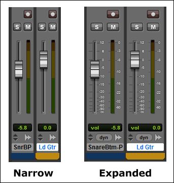 Narrow or Expanded Mix Window View  in Pro Tools