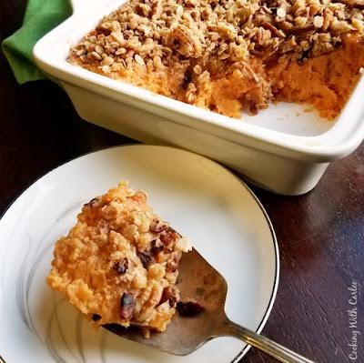 serving spoon full of sweet potato bake