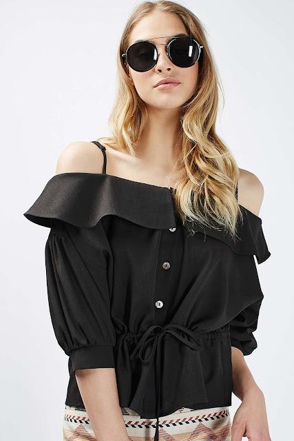 black off shoulder blouse, black jovonna off shoulder top, black frill off shoulder top,