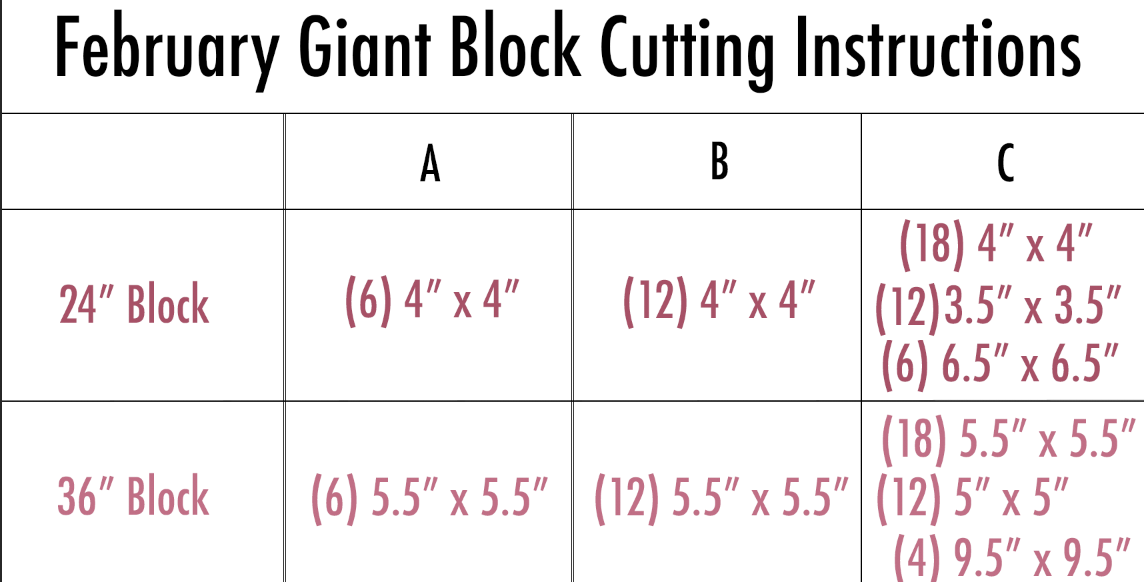 February Giant Block Cutting Instructions