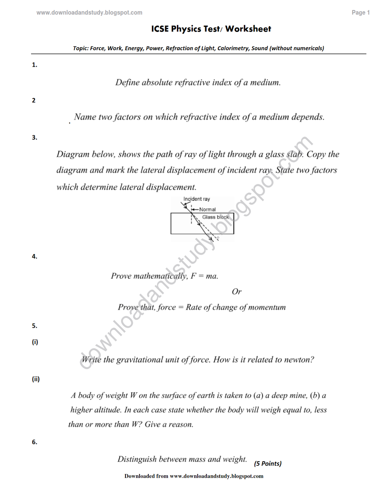 Download Amp Study Icse Physics Test Worksheet Multiple