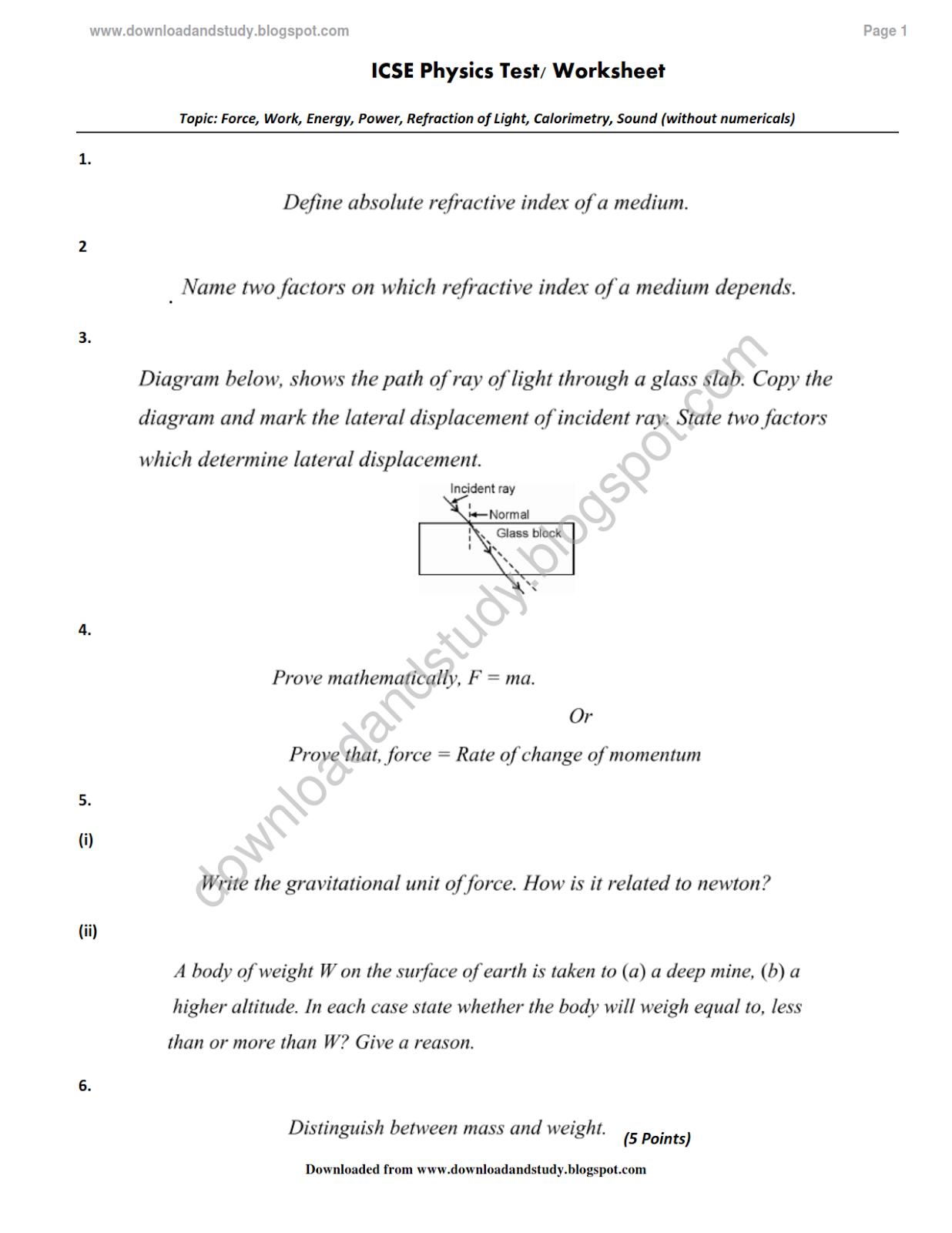 Download Study Icse Physics Test Worksheet Multiple