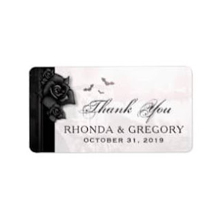 Gothic Roses Wedding Thank You Label