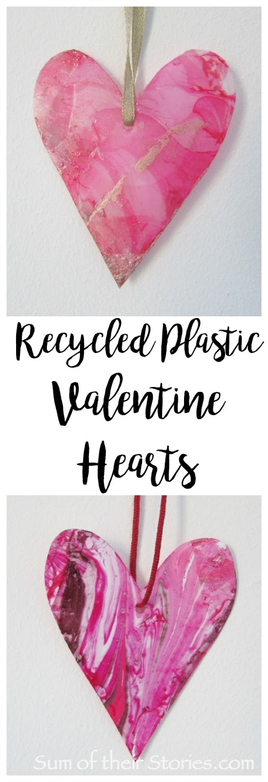 Recycled plastic valentine hearts with nail polish marbling