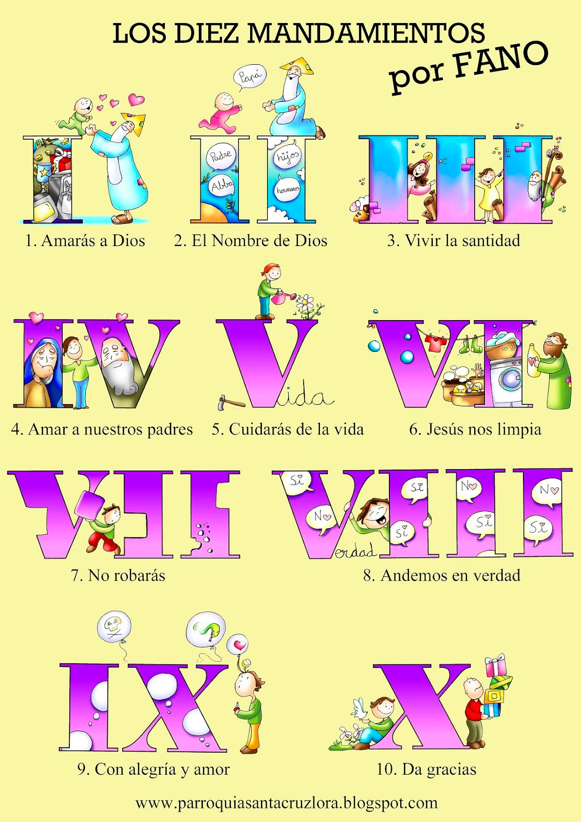 10 Mandamientos Catolicos Para Colorear