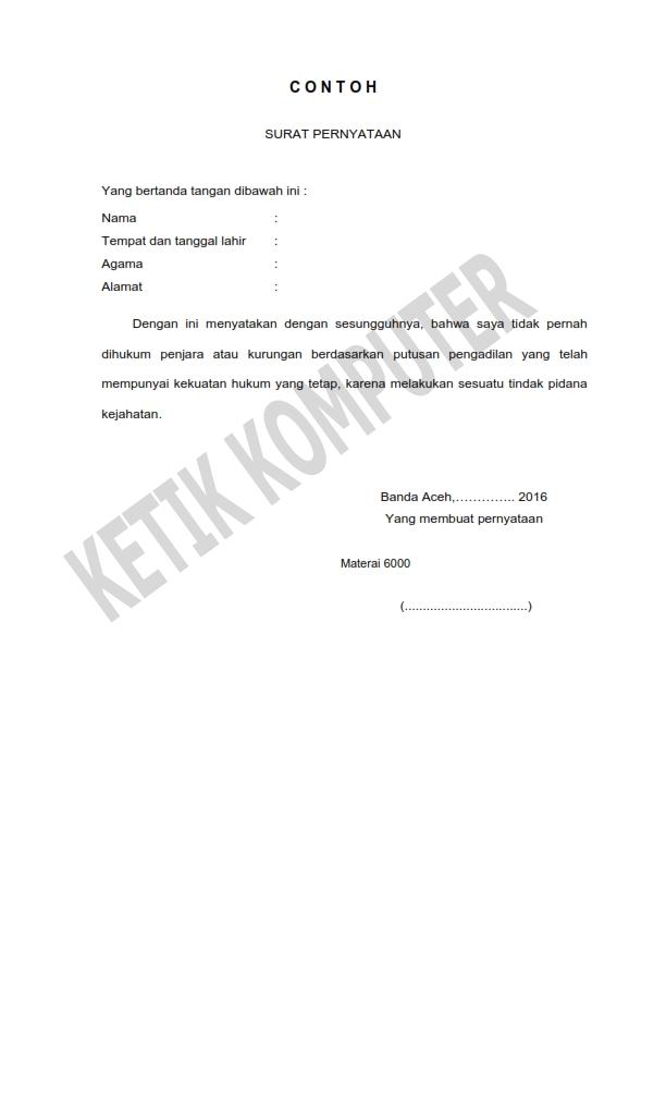 Contoh Surat Pernyataan pada RSUD MEURAXA Banda Aceh