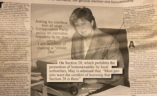 Theresa May in newspaper article pre-2003 affirming support for Section 28