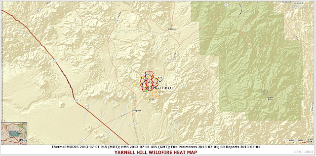 Yarnell Hill Wildfire Perimeter, Hotspot and Location Map 7-1-13 p.m.