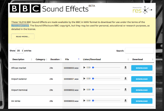 Music Teachers- BBC Sound Effects Database Is Now Available