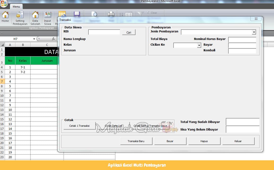 Aplikasi Excel Multi Pembayaran