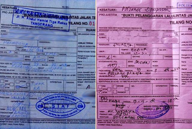Bila Ditilang, Sekarang Bisa Minta Surat Warna Biru. Apa bedanya?