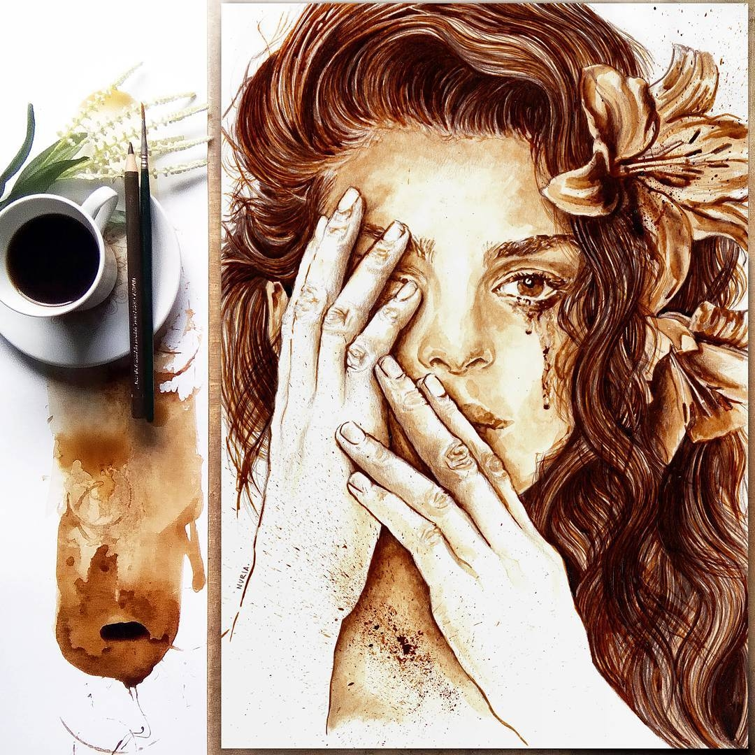 14-Overwhelmed-Nuria-Salcedo-nuriamarq-Celebrities-and-Animated-Movies-Painted-with-Coffee-and-Brown-Pencil-www-designstack-co