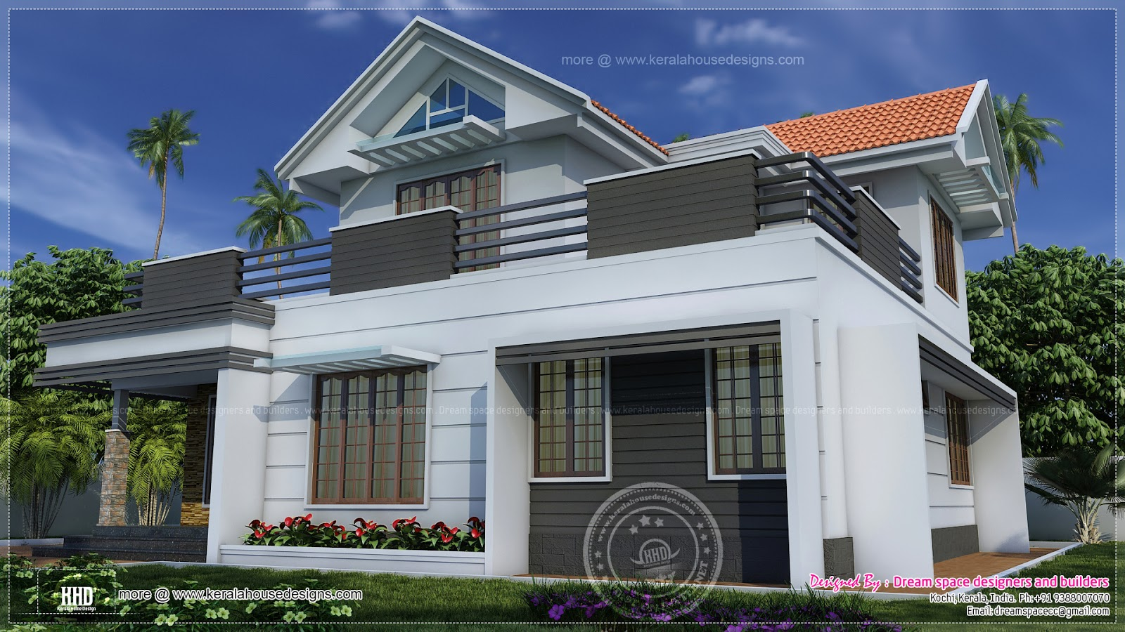 Two storey villa with traditional and contemporary for 2 story villa floor plans