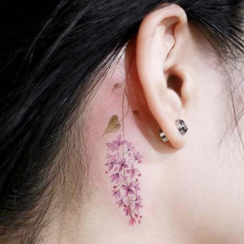 kulak arkası çiçek dövmeleri behind ear flower tattoos