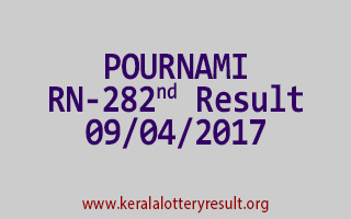 POURNAMI Lottery RN 282 Results 9-4-2017