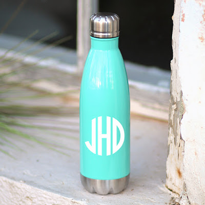 mint green monogrammed stainless steel water bottle