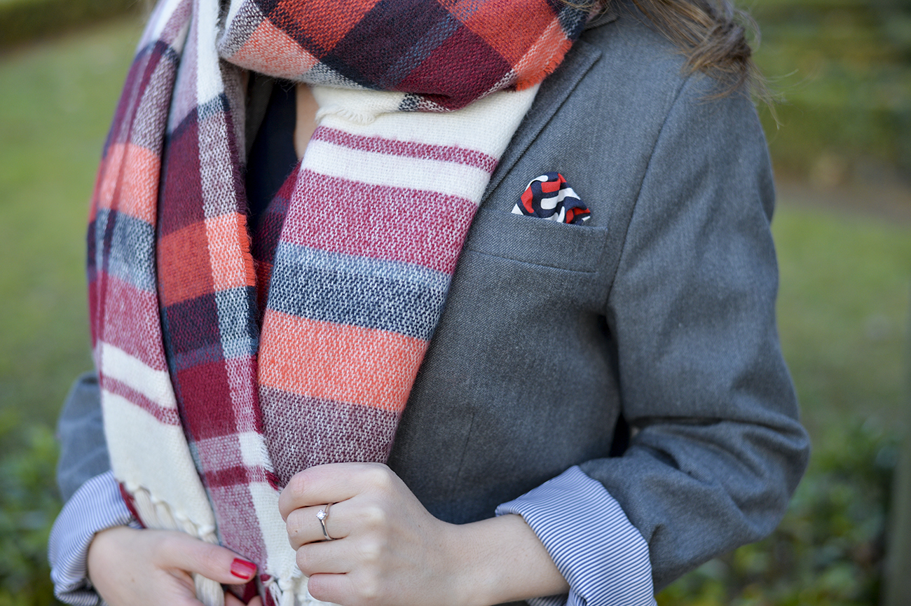 Gray Blazer & Plaid Scarf