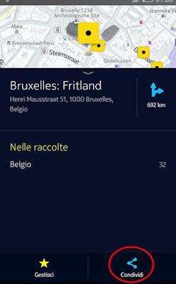 Come aggiungere un luogo di Here Maps sulla schermata home