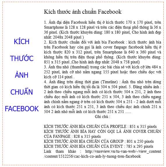kích thước ảnh chuẩn facebook