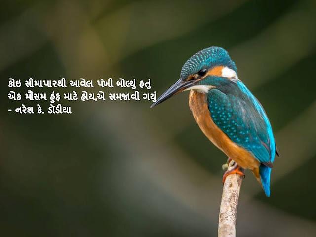 कोइ सीमापारथी आवेल पंखी बोल्युं हतुं Gujarati Sher By Naresh K. Dodia