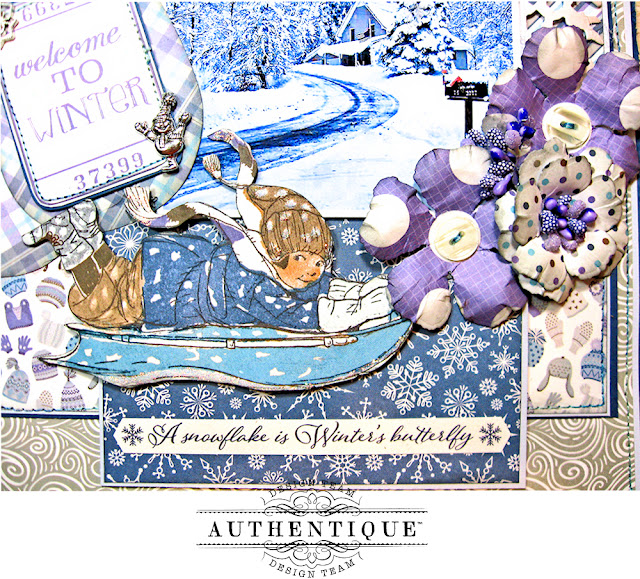 Authentique Frosted Memories Winter Layout by Kathy Clement Photo 04