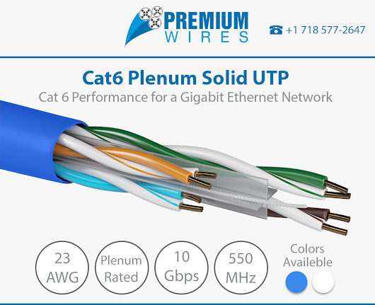 Ebay Hot Deal! CAT6 PLENUM 1000FT CABLE BLUE at lowest pricing with Free Shipping - Premium Wires
