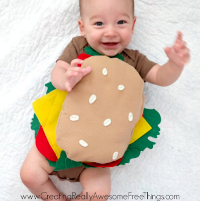 Get your little one ready with these 10 best DIY Halloween costume ideas for baby. DIY Halloween cheeseburger costume for baby boy. Awesome and cute homemade baby Halloween costume ideas. DIY Halloween costume for baby boy. DIY Baby Halloween costume ideas. Halloween costume for 0-1 years old baby. Halloween costume for toddlers. Halloween costume for preschool.