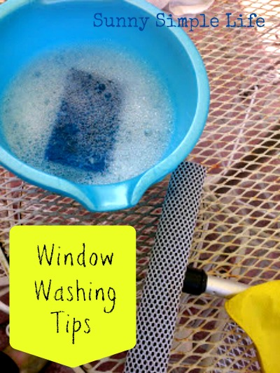 window washing solution, squeegee