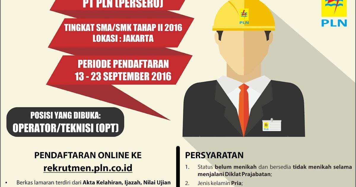 Lowongan Kerja Operator/Teknisi PLN Tingkat SMA SMK
