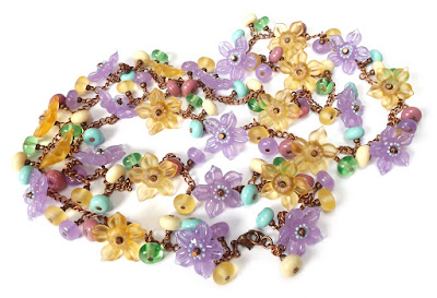 Lampwork glass flower beads in a long 'Garland' necklace by Laura Sparling