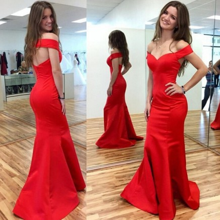 Sexy Red Mermaid 2017 Prom Dress Off-the-shoulder Sweep Train -Price US$152