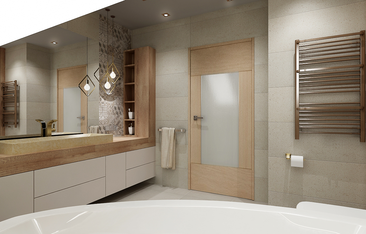 All Design łazienka Ze Skosami I Patchworkiem