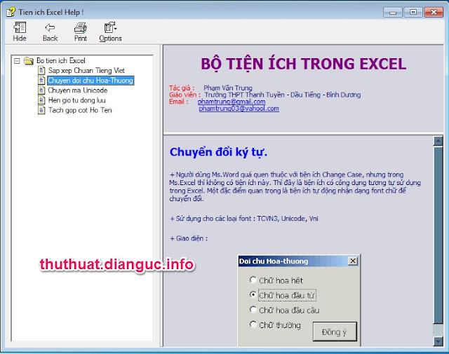 Download bộ tiện ích sắp xếp tiếng việt trong Excel 2003 2007 2013