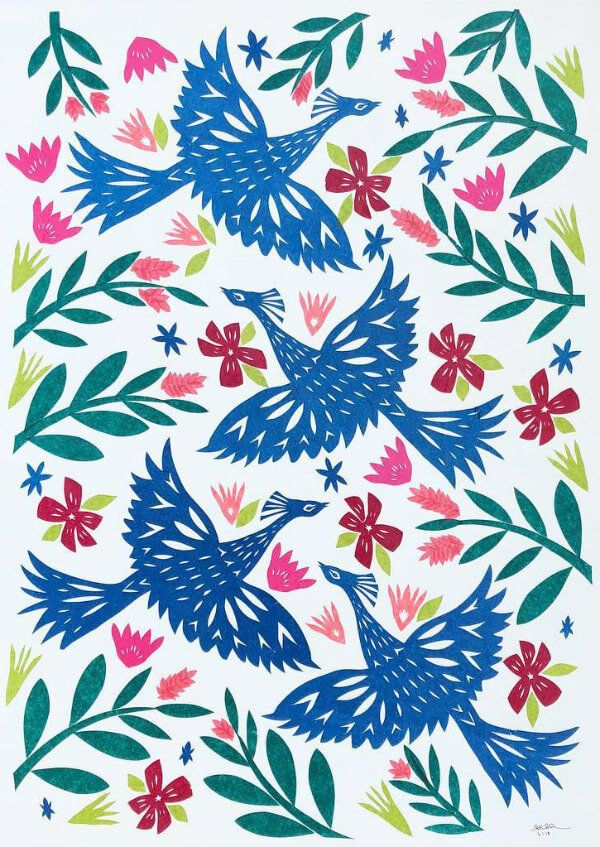 blue tissue paper hand cut bird silhouettes surrounded by colorful flowers and leaves