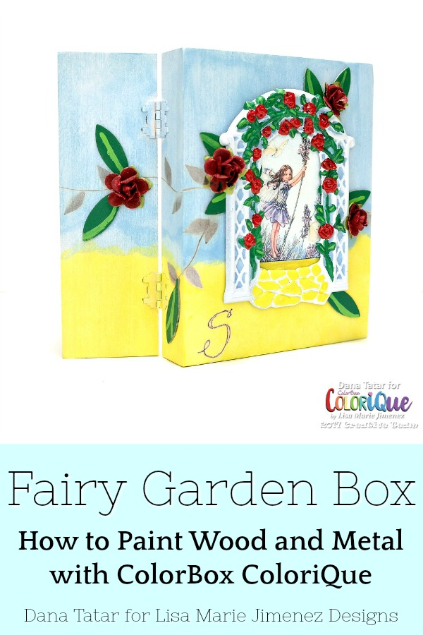Painted Wood Box with Fairy and Red Roses